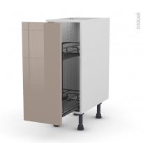 Meuble de cuisine - Range épice epoxy - KERIA Moka - 1 porte - L30 x H70 x P58 cm