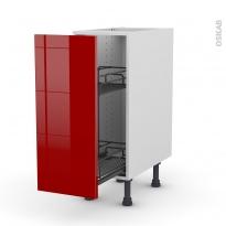 Meuble de cuisine - Range épice epoxy - STECIA Rouge - 1 porte - L30 x H70 x P58 cm