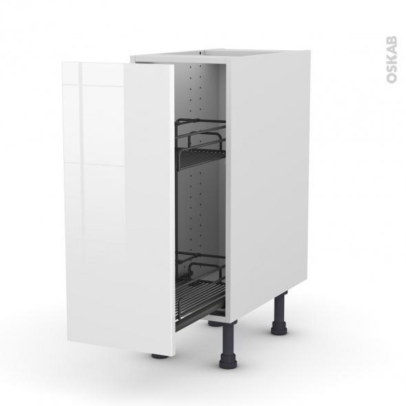 Meuble de cuisine - Range épice epoxy - STECIA Blanc - 1 porte - L30 x H70 x P58 cm