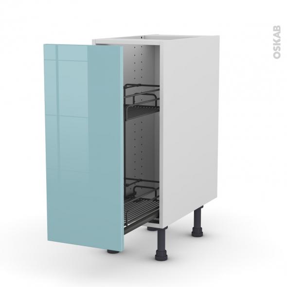 Meuble de cuisine - Range épice epoxy - KERIA Bleu - 1 porte - L30 x H70 x P58 cm