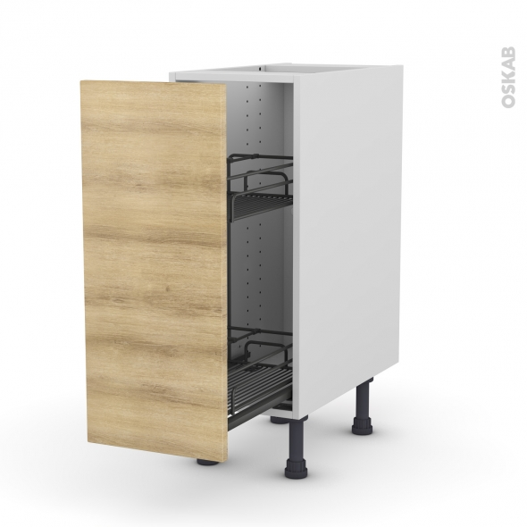 Meuble de cuisine - Range épice epoxy - HOSTA Chêne naturel - 1 porte - L30 x H70 x P58 cm
