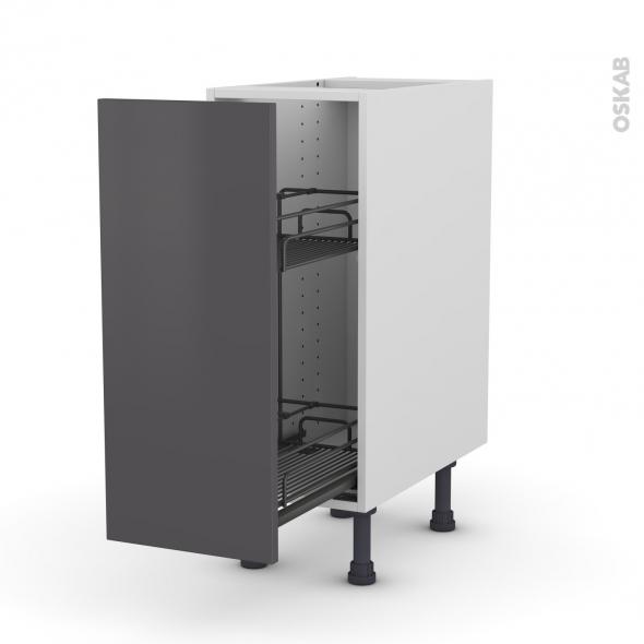 Meuble de cuisine - Range épice epoxy - GINKO Gris - 1 porte - L30 x H70 x P58 cm