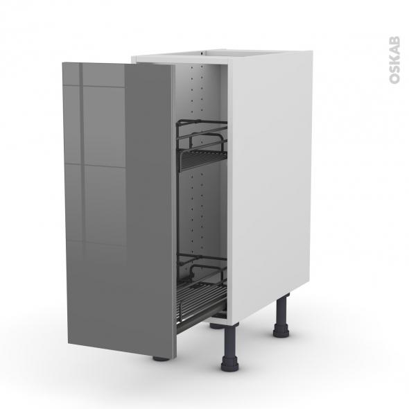 Meuble de cuisine - Range épice epoxy - STECIA Gris - 1 porte - L30 x H70 x P58 cm