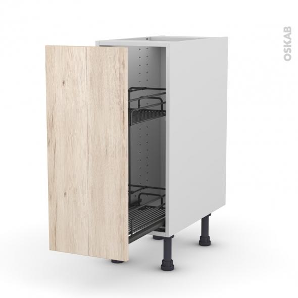 Meuble de cuisine - Range épice epoxy - IKORO Chêne clair - 1 porte - L30 x H70 x P58 cm
