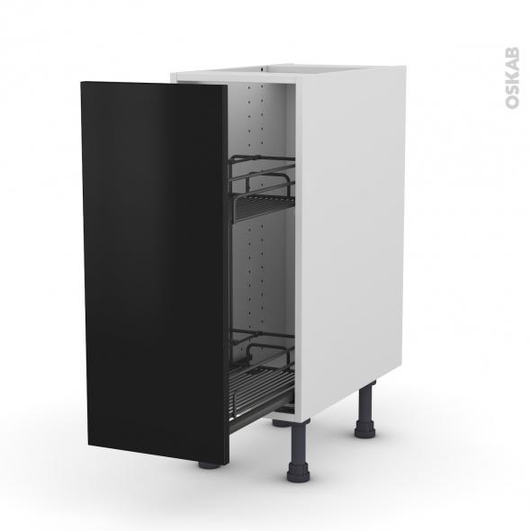 Meuble de cuisine - Range épice epoxy - GINKO Noir - 1 porte - L30 x H70 x P58 cm