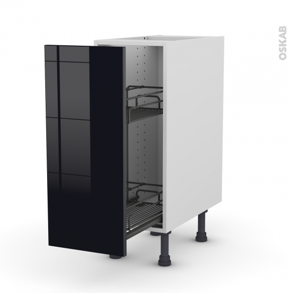 Meuble de cuisine - Range épice epoxy - KERIA Noir - 1 porte - L30 x H70 x P58 cm