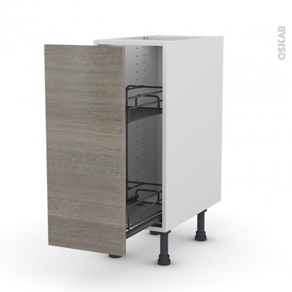 Meuble de cuisine - Range épice epoxy - STILO Noyer Naturel - 1 porte - L30 x H70 x P58 cm