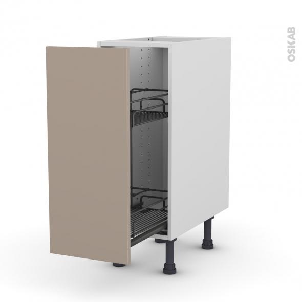 Meuble de cuisine - Range épice epoxy - GINKO Taupe - 1 porte - L30 x H70 x P58 cm