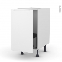 Meuble de cuisine - Sous évier - PIMA Blanc - 1 porte coulissante - L40 x H70 x P58 cm