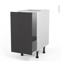 Meuble de cuisine - Sous évier - GINKO Gris - 1 porte coulissante - L40 x H70 x P58 cm