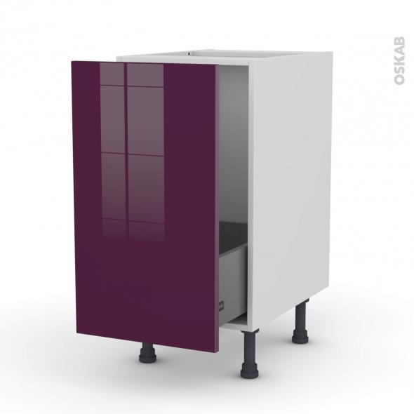 Meuble de cuisine - Sous évier - KERIA Aubergine - 1 porte coulissante - L40 x H70 x P58 cm