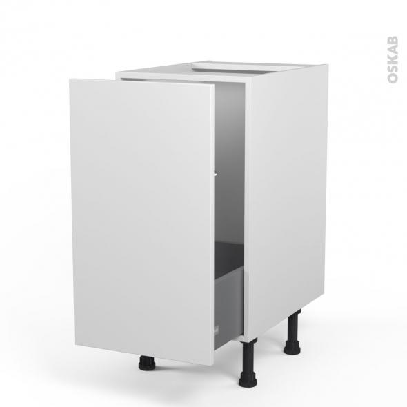 Meuble de cuisine - Sous évier - GINKO Blanc - 1 porte coulissante - L40 x H70 x P58 cm