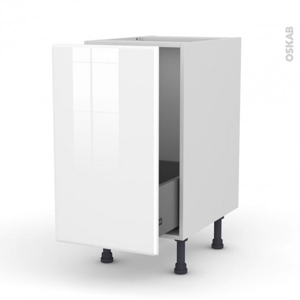 Meuble de cuisine - Sous évier - IRIS Blanc - 1 porte coulissante - L40 x H70 x P58 cm