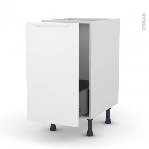 PIMA Blanc - Meuble sous-évier  - 1 porte coulissante - L40xH70xP58