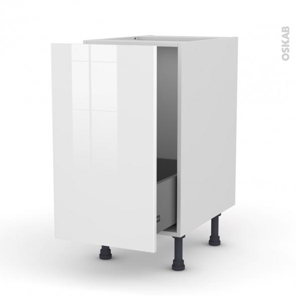 STECIA Blanc - Meuble sous-évier  - 1 porte coulissante - L40xH70xP58
