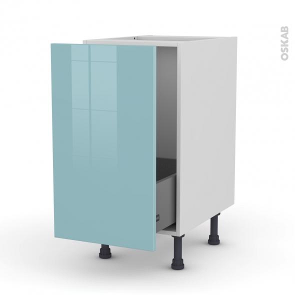 KERIA Bleu - Meuble sous-évier  - 1 porte coulissante - L40xH70xP58