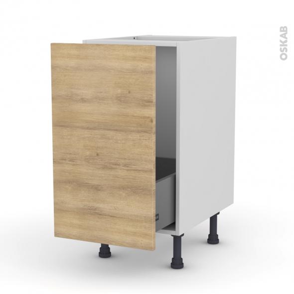 Meuble de cuisine - Sous évier - HOSTA Chêne naturel - 1 porte coulissante - L40 x H70 x P58 cm