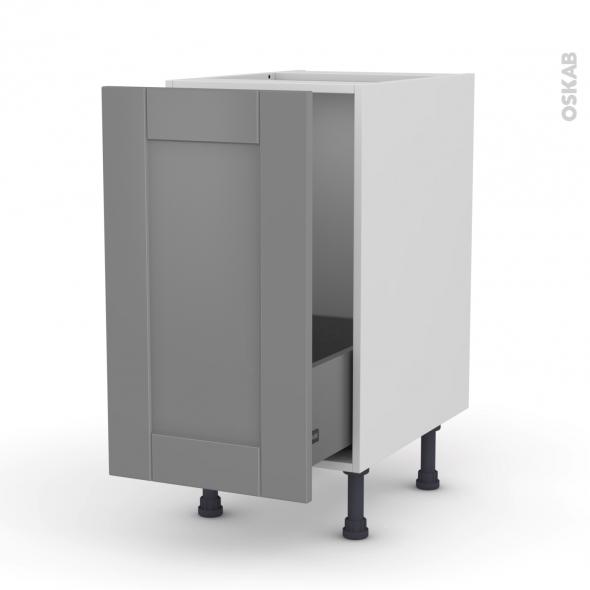Meuble de cuisine - Sous évier - FILIPEN Gris - 1 porte coulissante - L40 x H70 x P58 cm