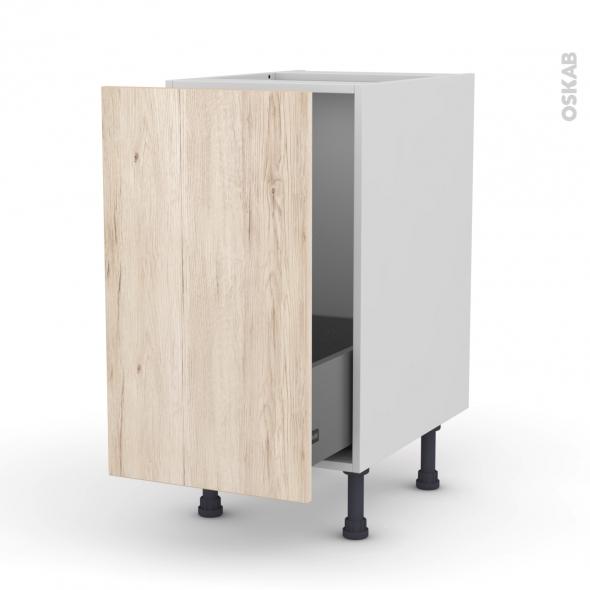 Meuble de cuisine - Sous évier - IKORO Chêne clair - 1 porte coulissante - L40 x H70 x P58 cm