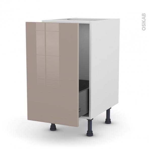 Meuble de cuisine - Sous évier - KERIA Moka - 1 porte coulissante - L40 x H70 x P58 cm