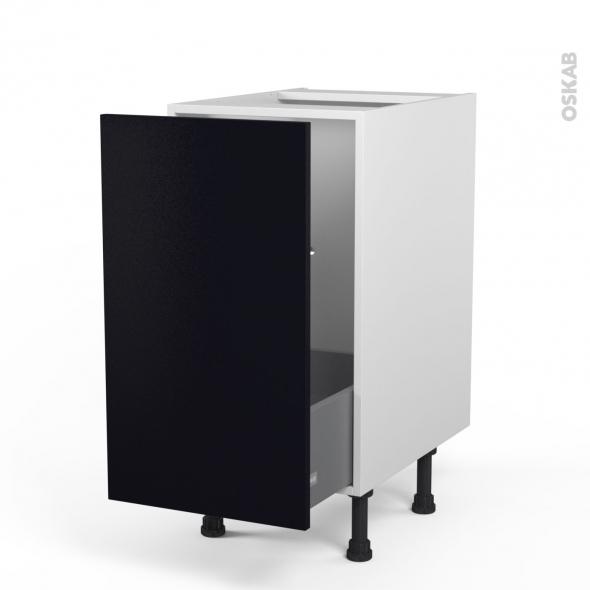 Meuble de cuisine - Sous évier - GINKO Noir - 1 porte coulissante - L40 x H70 x P58 cm