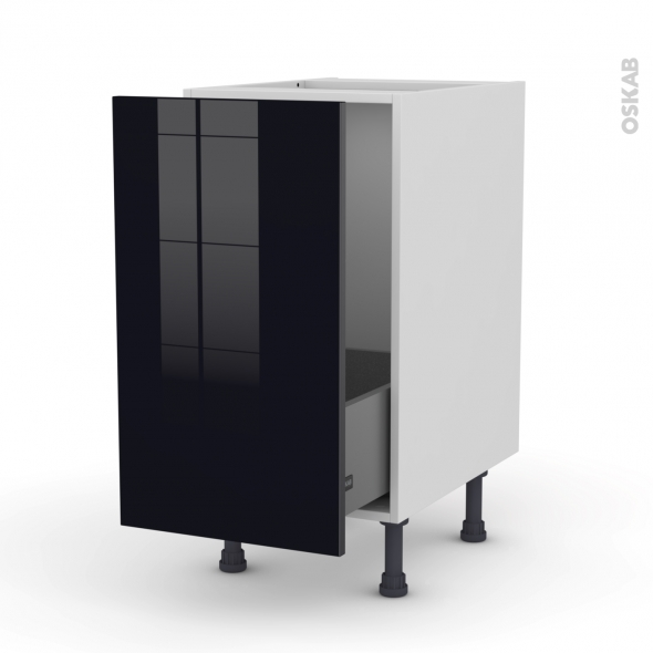Meuble de cuisine - Sous évier - KERIA Noir - 1 porte coulissante - L40 x H70 x P58 cm