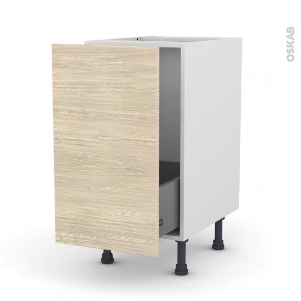 Meuble de cuisine - Sous évier - STILO Noyer Blanchi - 1 porte coulissante - L40 x H70 x P58 cm