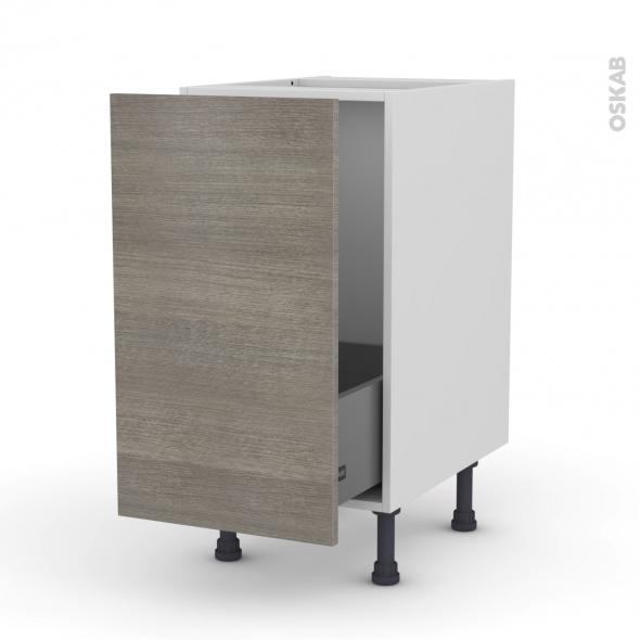 Meuble de cuisine - Sous évier - STILO Noyer Naturel - 1 porte coulissante - L40 x H70 x P58 cm