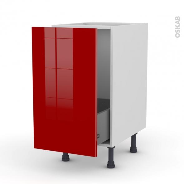 Meuble de cuisine - Sous évier - STECIA Rouge - 1 porte coulissante - L40 x H70 x P58 cm