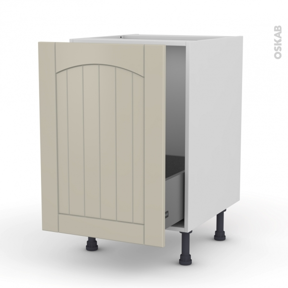 SILEN Argile - Meuble sous-évier  - 1 porte coulissante - L50xH70xP58