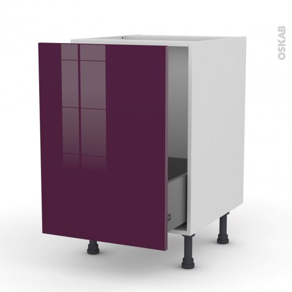 Meuble de cuisine - Sous évier - KERIA Aubergine - 1 porte coulissante - L50 x H70 x P58 cm