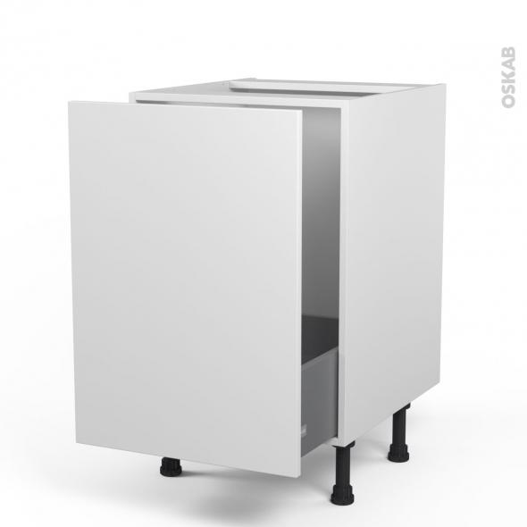 Meuble de cuisine - Sous évier - GINKO Blanc - 1 porte coulissante - L50 x H70 x P58 cm