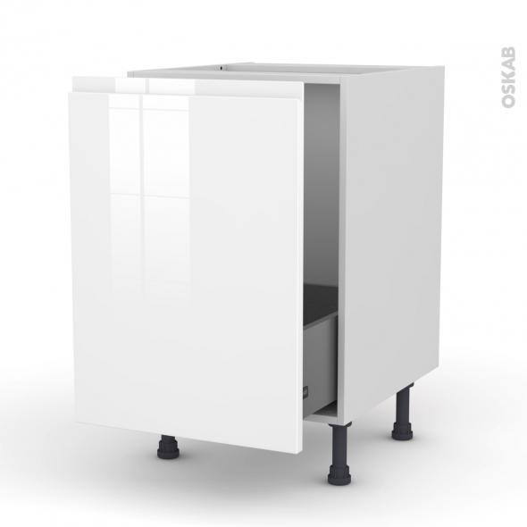 Meuble de cuisine - Sous évier - IPOMA Blanc - 1 porte coulissante - L50 x H70 x P58 cm