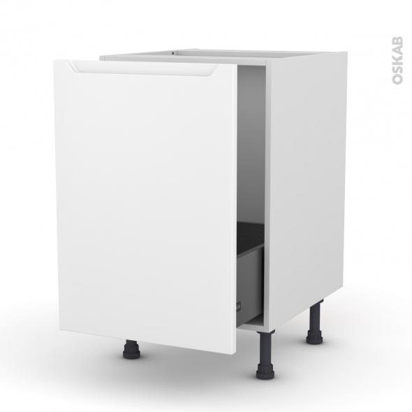 Meuble de cuisine - Sous évier - PIMA Blanc - 1 porte coulissante - L50 x H70 x P58 cm