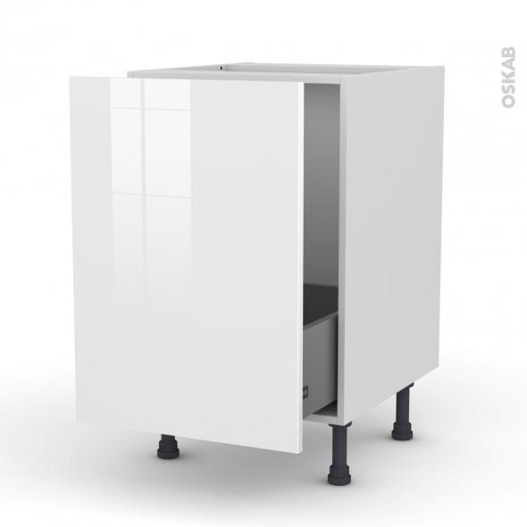 Meuble de cuisine - Sous évier - STECIA Blanc - 1 porte coulissante - L50 x H70 x P58 cm
