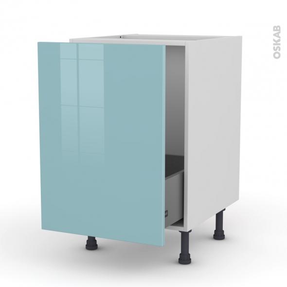 Meuble de cuisine - Sous évier - KERIA Bleu - 1 porte coulissante - L50 x H70 x P58 cm