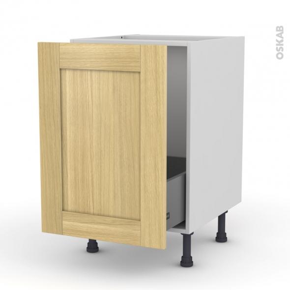BASILIT Bois Brut - Meuble sous-évier  - 1 porte coulissante - L50xH70xP58