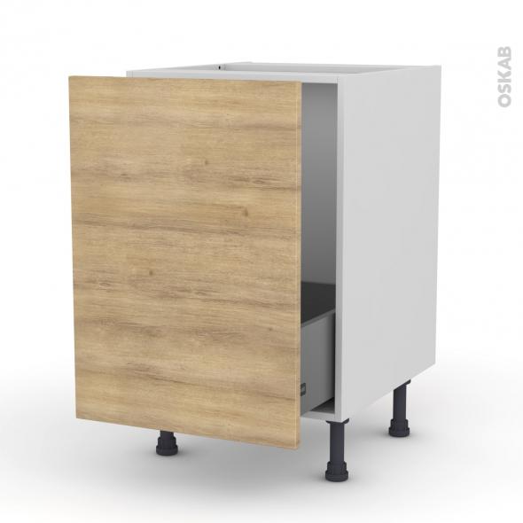 Meuble de cuisine - Sous évier - HOSTA Chêne naturel - 1 porte coulissante - L50 x H70 x P58 cm