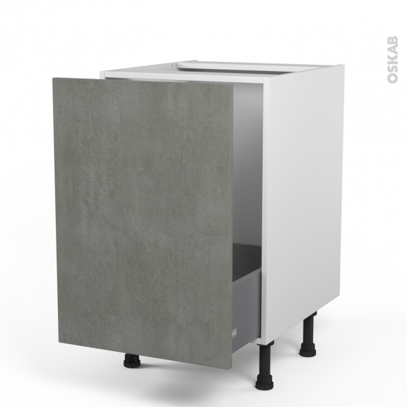 Meuble de cuisine - Sous évier - FAKTO Béton - 1 porte coulissante - L50 x H70 x P58 cm