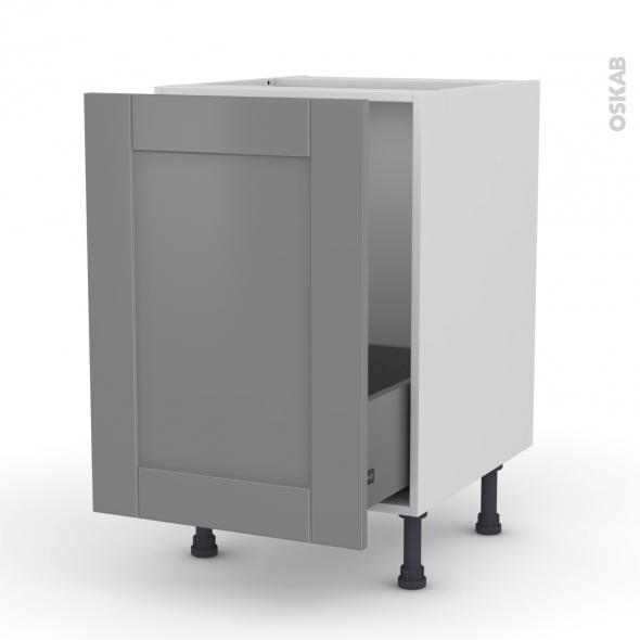 Meuble de cuisine - Sous évier - FILIPEN Gris - 1 porte coulissante - L50 x H70 x P58 cm