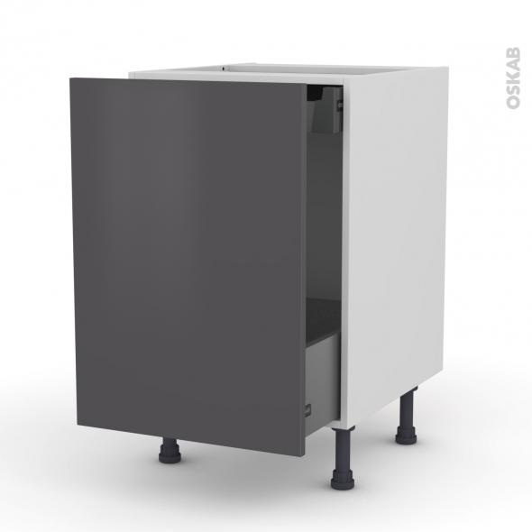 Meuble de cuisine - Sous évier - GINKO Gris - 1 porte coulissante - L50 x H70 x P58 cm