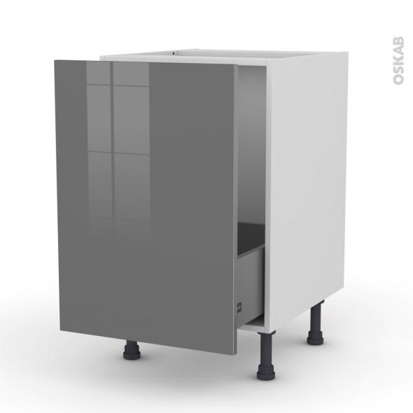 Meuble de cuisine - Sous évier - STECIA Gris - 1 porte coulissante - L50 x H70 x P58 cm