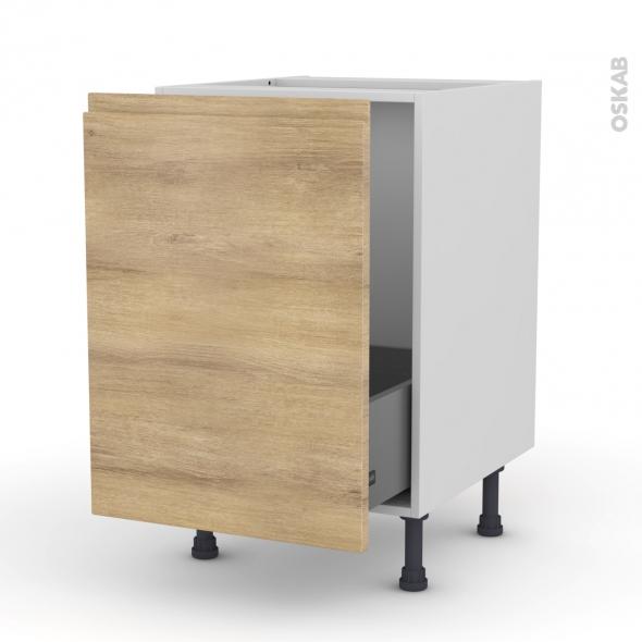 Meuble de cuisine - Sous évier - IPOMA Chêne naturel - 1 porte coulissante - L50 x H70 x P58 cm