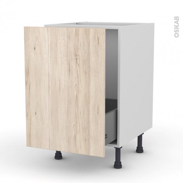 Meuble de cuisine - Sous évier - IKORO Chêne clair - 1 porte coulissante - L50 x H70 x P58 cm