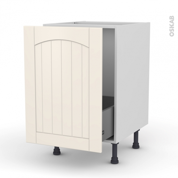 SILEN Ivoire - Meuble sous-évier  - 1 porte coulissante - L50xH70xP58
