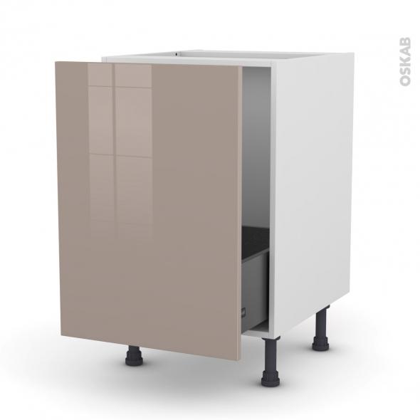 Meuble de cuisine - Sous évier - KERIA Moka - 1 porte coulissante - L50 x H70 x P58 cm