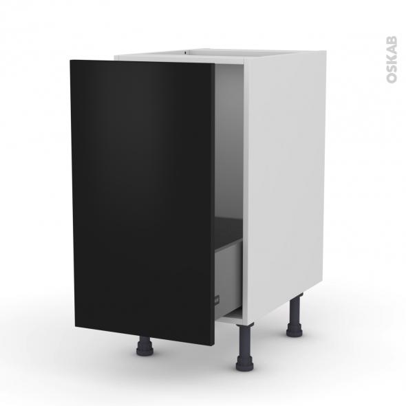 Meuble de cuisine - Sous évier - GINKO Noir - 1 porte coulissante - L50 x H70 x P58 cm