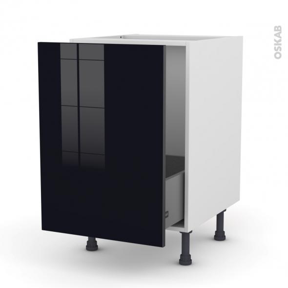 Meuble de cuisine - Sous évier - KERIA Noir - 1 porte coulissante - L50 x H70 x P58 cm