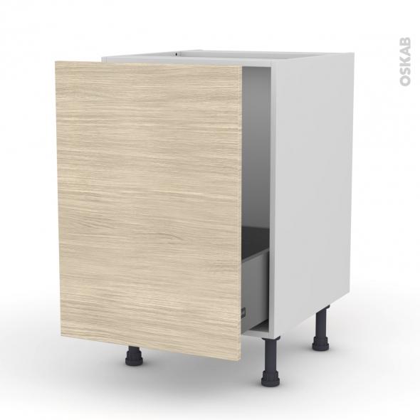 Meuble de cuisine - Sous évier - STILO Noyer Blanchi - 1 porte coulissante - L50 x H70 x P58 cm