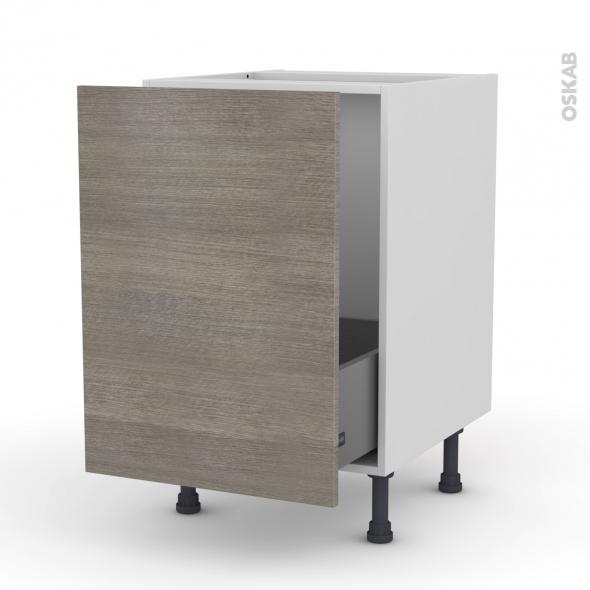 Meuble de cuisine - Sous évier - STILO Noyer Naturel - 1 porte coulissante - L50 x H70 x P58 cm